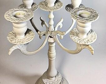 Vintage shabby white metal candelabra wedding centerpiece REDUCED
