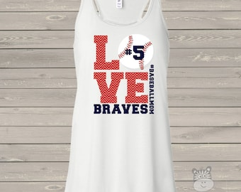 Baseball mom tank top flowy LOVE -  great gift for birthday or Mother's Day baseball mom shirt