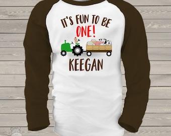 First birthday shirt tractor and farm animals 1st (or any) birthday personalized raglan shirt MDB-001-R