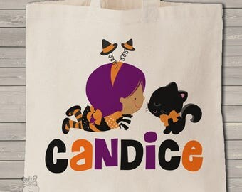Trick or treat bag Halloween bag personalized little witch and kitty use year after year MBAG1-037