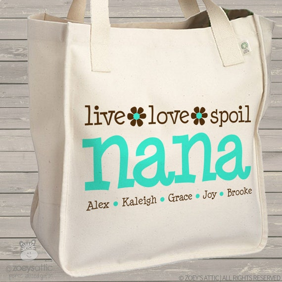 nana or grandma tote personalized tote bag -great mother's day gift for grandma MMGA1-011-B