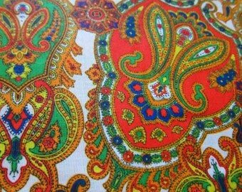 Neon Paisley Fabric, 3 Yards of Vintage Polyester Fabric with Vibrant Bright Orange, Green, and Blue Paisley Print, Decorative Bottom Border