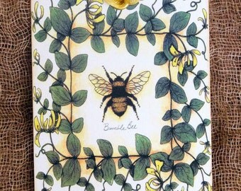 Summer Bumble Bee Yellow Flower Vine Gift or Scrapbook Tags or Magnet #336