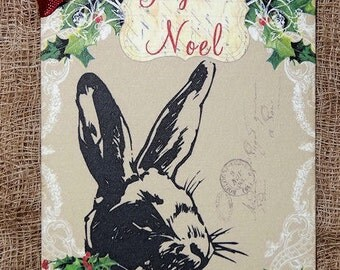 French Noel Bunny Rabbit Christmas Gift or Scrapbook Tags or Magnet #547