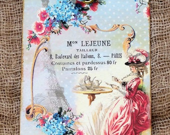 French Marie Antoinette Having Tea Gift or Scrapbook Tags or Magnet #375