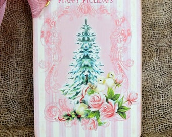 Retro Pink Snowy Pine Tree Bird Christmas Gift or Scrapbook Tags or Magnet #598