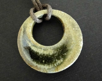 Ceramic Pendant Necklace - Woodfired Mossy Green