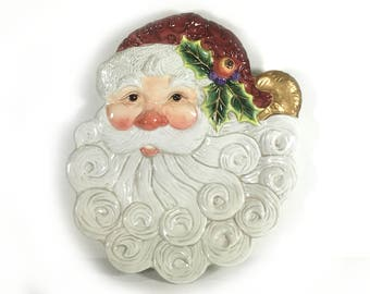 """Vintage Fitz and Floyd Essentials, """"Christmas Santa"""" - Canape Plate, Santa with Curly Beard"""