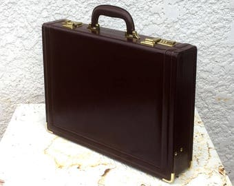 Vintage Maroon Executive Briefcase with Combination Locks, Gold-Toned Hardware, Tan Suede Lining