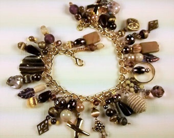 MJ-110 Shades of Bronze and Brown Charm Bracelet