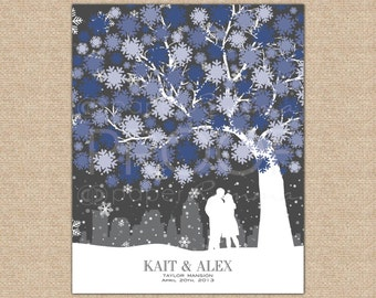 Wedding Tree Guestbook, Winter Wedding Guestbook, Wedding Signature Tree Guestbook/ W-WW02-1PS  HH3