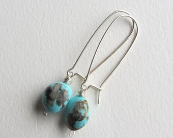 Turquoise Earrings with Sterling Silver Kidney Ear Wires Handmade in Seattle Dangle Drop Earrings Boho Style Southwest Inspired Jewelry