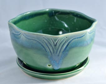 Berry Bowl in Forest Green and Blue - Ceramic Colander - Stoneware Pottery