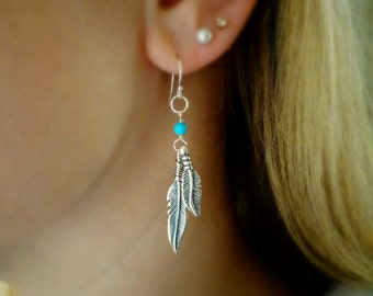 Sterling silver and turquoise feather charm earrings, Boho, Southwestern style, bohemian, native american, birds of a feather, symbolic