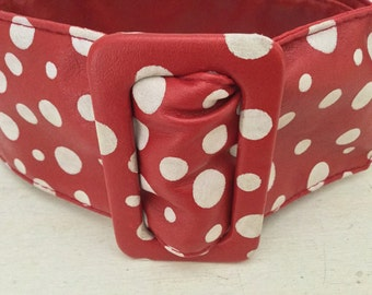 Vintage Valentine Wide Red and White Polka Dot Belt Reversible