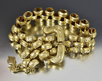 Antique Victorian Buckle Bracelet, Sterling Silver Gold Vermeil, Engraved Book Chain, Belt Buckle Tassel Charm Bracelet, Handmade Bracelet