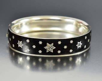 Austria Hungary Silver Black Enamel Bracelet, Star Seed Pearl Mourning Bracelet, Victorian Bracelet Bangle, Antique Mourning Jewelry