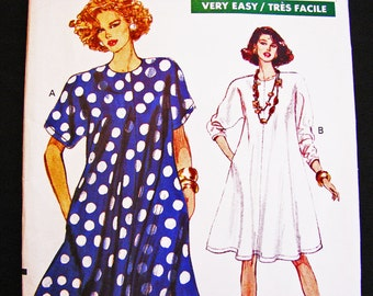 Womens Tent Dress Pattern Misses size 12 14 16 UNCUT Easy Vogue Pattern Very Loose Flared Dress Sewing Pattern