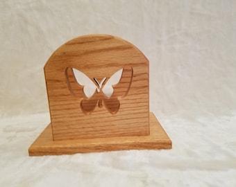oak scrolled butterfly napkin holder