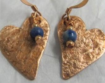 Heart Lapis Earrings, Tiny Copper Heart Dangle Earrings.