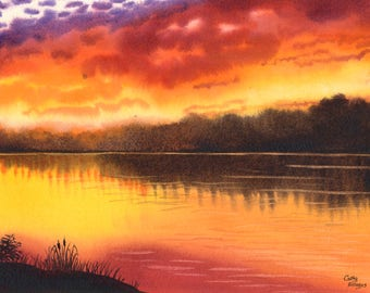 Sunset Watercolor Original Painting by Cathy HIllegas, sunset lake, watercolor landscape, watercolor painting, 11x14, sunset 18 yellow red