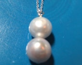 SALE CODE Two Pearl Drop Necklace, Sterling Silver Chain Necklace, Cultured Pearl Pendant Necklace, Double Pearl Drop Necklace Gift