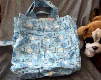 Cotton Shopping Tote Bag, Blue Fleece Celebrate Print