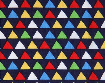213618 navy blue Michael Miller fabric lime green yellow blue triangle Little Peaks