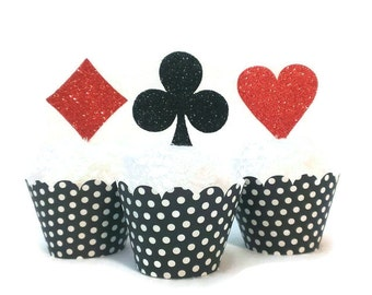 Casino Night, Poker Party, Alice in Wonderland Playing Card Suits, Set of 8, 12 or 16