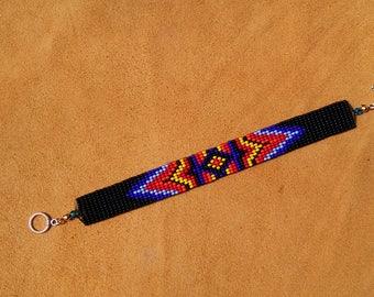 Eye Of God Design. Loom Beaded Bracelet.