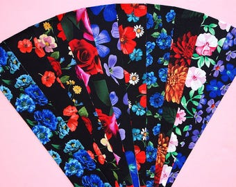 Fabric Bright Florals on Black Cotton Jelly Roll Quilting Strip Pack Material Die Cut 20 Strips (sku JR210-BRFLrd)