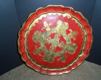 Vintage Italy Florentia 1960's Red with Gold Small Tray