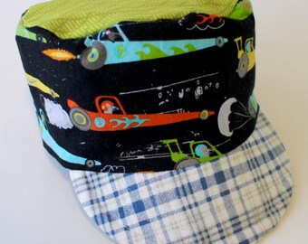 Boy's Cadet Cap, Sun Hat, Summer Beach Wear, Cars and Fish, Conductor Cap, Military Cap for Kids