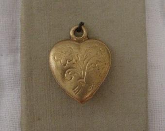 Miniature Doll Size Vintage 10 Karat Gold Heart Pendant