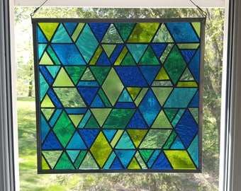 Ocean Shades Geometric Stained Glass Panel
