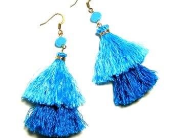 Double Layer Turquoise Blue Tassel Earrings, 2 tiers, Two Tier, Tassel Earrings, Blue Earrings, Blue Tassel Earrings, Bridesmaid Earrings