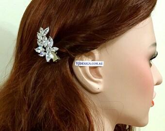 Marquise Bridal Hair Clip, Leaf Wedding Barrette, Woodland Wedding Hair Clip, Cz Bridal Hair Jewelry, Pearl Bridal Headpiece, ELYSIUM