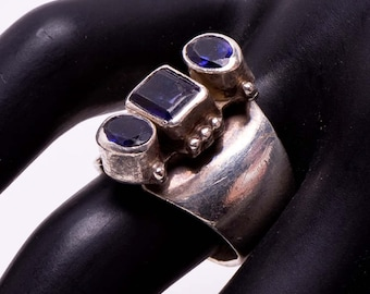 Navajo Gemstone Ring - 80s Sterling Tanzanite & Amethyst -  Ronnie Willie - sz 7
