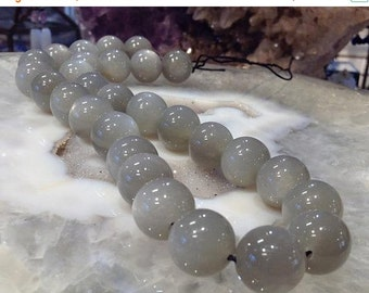 50% Mega Sale 14mm Silver Gray Moonstone Round Gemstone Beads - One Of A Kind