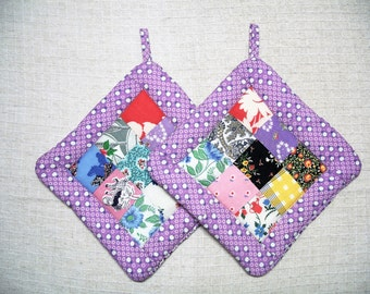 Pot Holders made from Vintage Quilt Top, Set of 2, Insulated Potholders, Lavender Potholders, Quilted Trivets, Hot Pads, Made in America