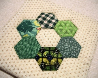 Hexagon Pot Holder, Applique, Tan and Green, Single Hot Pad, Quilted Insulated Trivet, For the Cook, For the Kitchen