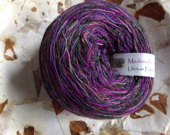Yarn light worsted dk Medieval Violets alpaca lambswool blend yarn, purple knitting crochet 100 yards Life's an Expedition