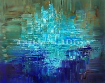 Aqua and navy giclee print on CANVAS of original painting OCEANIC by Tatiana Iliina