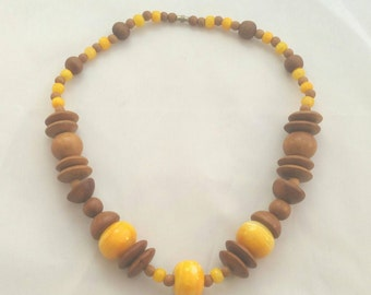 Chunky Earthy Wood & Canary Yellow Quartz Necklace