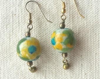 Bohemian Yellow & Blue Flower Drop Bead Earrings