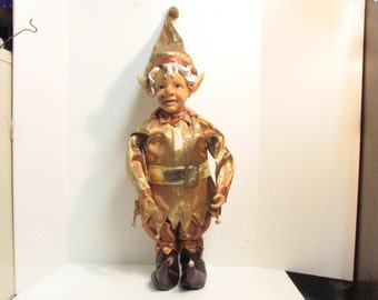 Vintage Giant Elf Christmas Display in Gold & Rust Sanats Elves Xmas Elf Doll