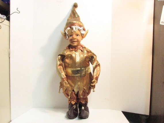 Giant Elf Christmas Display in Gold & Rust, Vintage Sanats Elves Xmas Elf Doll