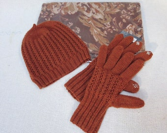 Hand Knit Beanie Hat and Touch Screen Gloves Fine Merino Wool  - Free Shipping in US