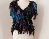 RESERVED recycled black silk   boho chic  tattered wrap handknitted by plumfish