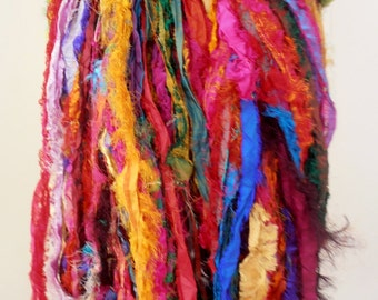 100 grams 1 skein recycled silk ribbon  knitting crochet craft embellishment yarn mixed multicolor